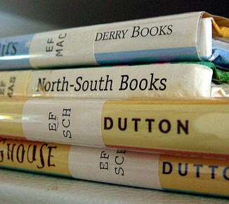 Our dual color labels are used to inventory library books.
